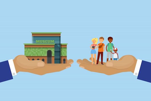 Concepto de turismo, tour, mano con museo y turistas, viajes en arquitectura de la ciudad, ilustración de dibujos animados.
