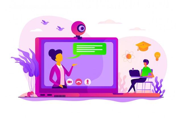 Concepto de tutor en línea.
