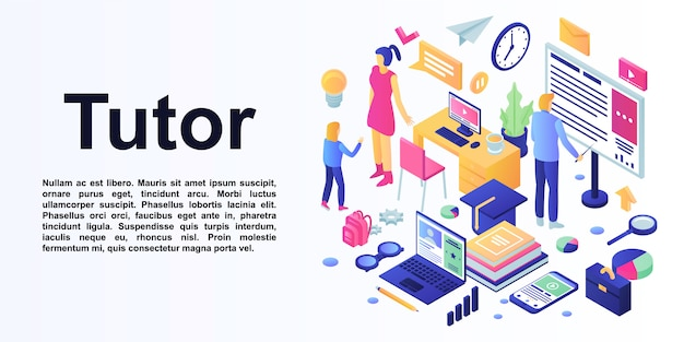 Concepto de tutoría banner, estilo isométrico