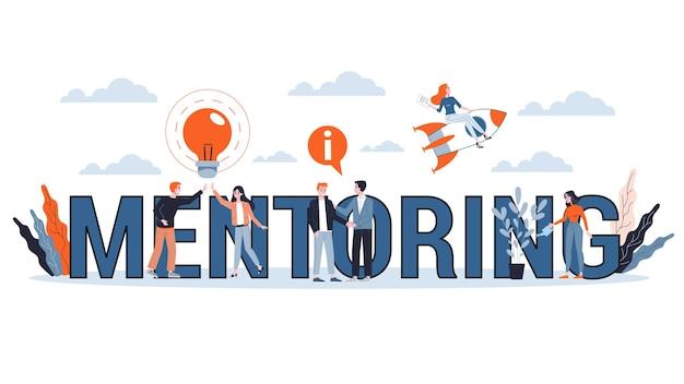 Concepto de tutoría. dar consejos para el éxito profesional. orientación en negocios. apoyo y motivación. ilustración