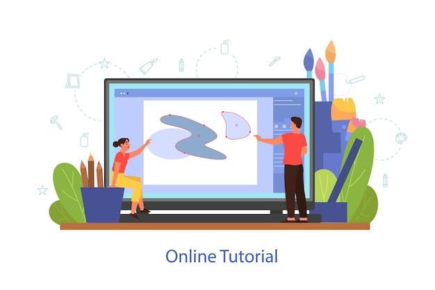 Concepto de tutorial de arte en línea. estudio a distancia, clase de arte. personas que aprenden a dibujar en programas digitales en línea. ilustración vectorial en estilo de dibujos animados