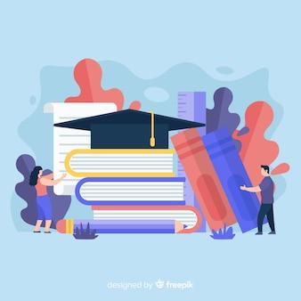 Concepto de universidad con elementos de educación en diseño plano