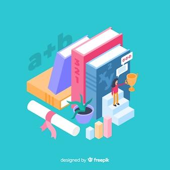 Concepto de universidad con elementos de educación en isométrico
