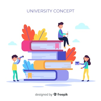 Concepto de universidad con elementos escolares en diseño plano