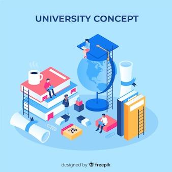 Concepto de universidad con elementos escolares en isométrico