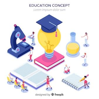 Concepto de universidad en isométrico con elementos de educación