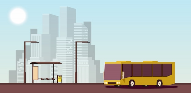 Concepto urbano plano de transporte público. ilustración isométrica