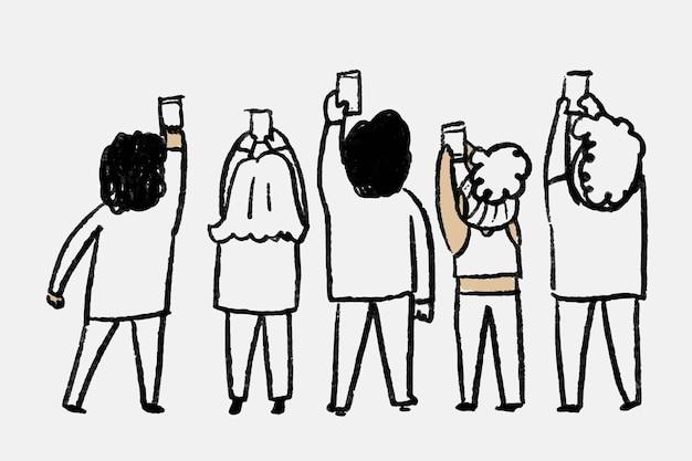 Concepto de usuarios en línea de vector de doodle de redes sociales