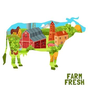 Concepto de vaca de granja