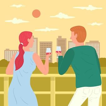 Concepto de vacaciones en el balcón