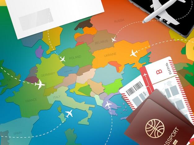 Concepto de vacaciones con pin rojo y mapa
