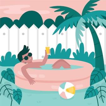Concepto de vacaciones en la piscina del jardín