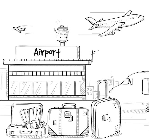 Concepto de vacaciones de verano dibujado a mano