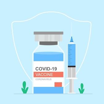 Concepto de vacuna contra el coronavirus jeringa con botella de vacuna