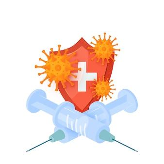 Concepto de vacuna isométrica con jeringas cruzadas, escudo médico y virus.