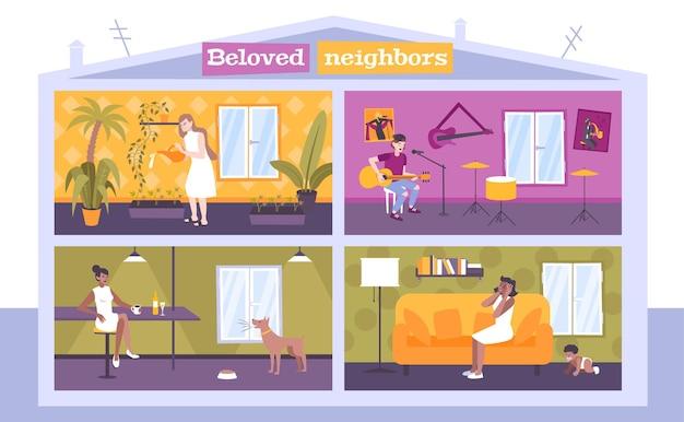 Concepto de vecinos de casa con música y niños.