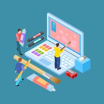 Concepto de vector de artistas digitales isométricos.