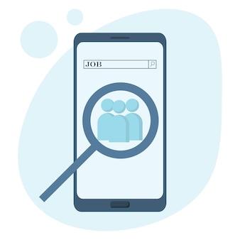 Concepto de vector de búsqueda de trabajo en la búsqueda de trabajo de teléfono móvil