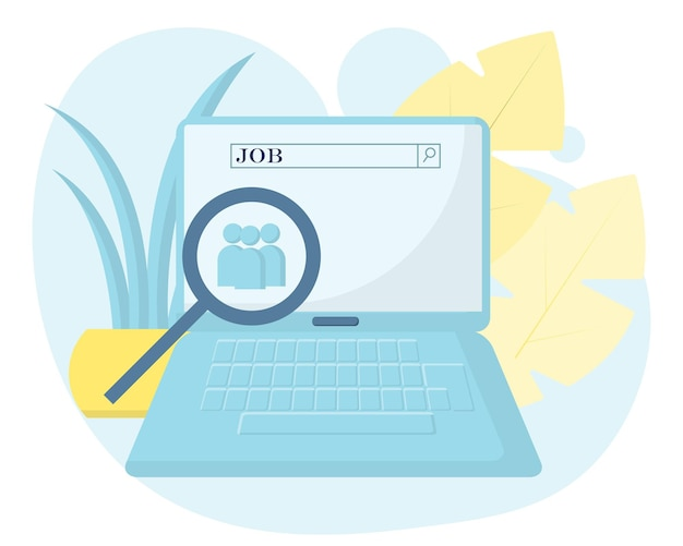 Concepto de vector de búsqueda de trabajo en la computadora portátil búsqueda de trabajo solicitud de búsqueda de trabajo