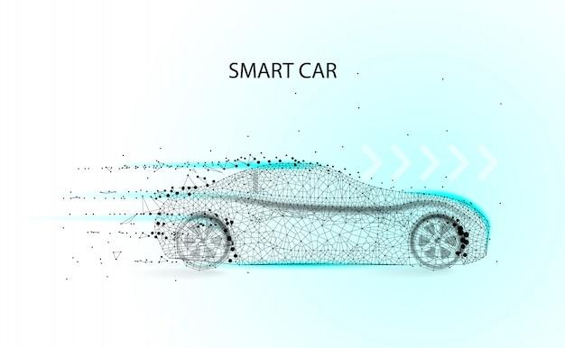 Concepto de vector de coche inteligente. auto eléctrico