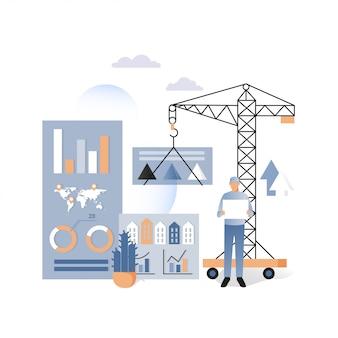 Concepto de vector de construcción de viviendas para banner web, página web