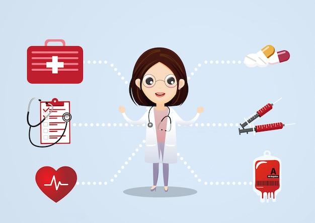 Concepto de vector de consulta médica. consulta y apoyo médico, ilustración del servicio médico.