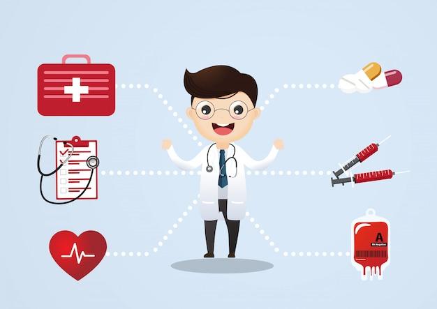 Concepto de vector de consulta médica. consulta médica y apoyo, ilustración de servicio médico.