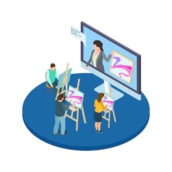 Concepto de vector de cursos de dibujo. educación artística en línea con artistas y maestros isométricos.