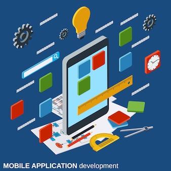 Concepto de vector de desarrollo de aplicaciones móviles