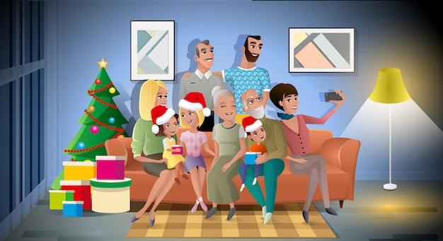 Concepto de vector de dibujos animados de gran familia fiesta de navidad
