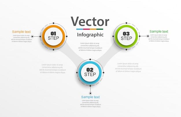Concepto de vector de diseño de infografías con 3 opciones, pasos o procesos