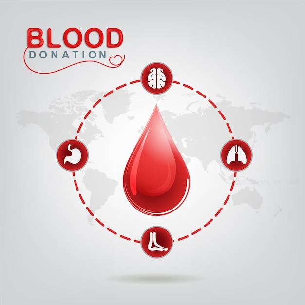 Concepto de vector de donación de sangre: el hospital comenzará una nueva vida nuevamente