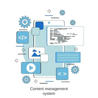 Concepto de vector de estilo de diseño plano de sistema de gestión de contenido