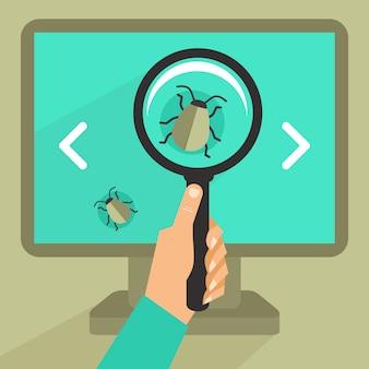 Concepto de vector en estilo retro plano - error y virus en el código de programación