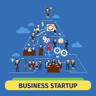 Concepto de vector de éxito empresarial trabajo en equipo