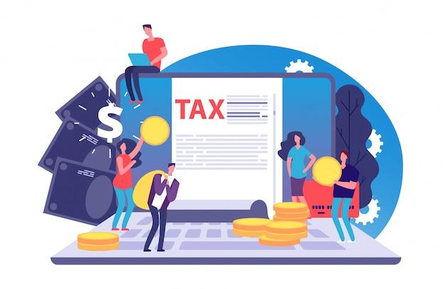 Concepto de vector de impuestos en línea. formulario de impuestos y gente pequeña con dinero en el portátil. pago de facturas en línea