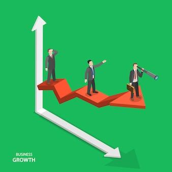 Concepto de vector isométrica de crecimiento empresarial.