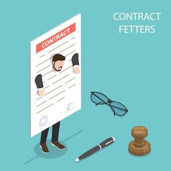 Concepto de vector isométrica plana de grillos de contrato, obligaciones comerciales.