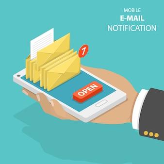 Concepto de vector isométrica plana de notificación por correo electrónico.
