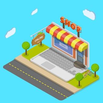 Concepto de vector isométrica plana de tienda online.