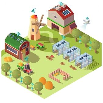 Concepto de vector isométrico de agricultura ecológica inteligente
