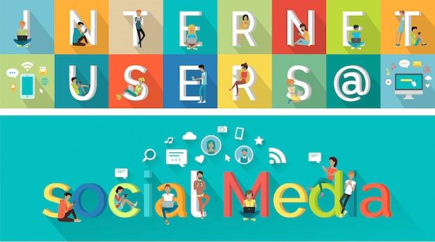 Concepto de vector de medios sociales en el diseño de estilo plano.