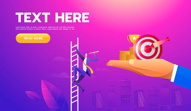 Concepto de vector de negocio con el empresario en una escalera con telescopio