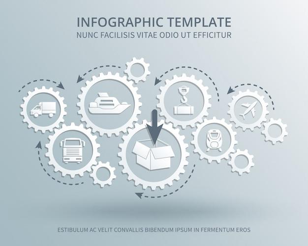 Concepto de vector de negocio de entrega y distribución con mecanismo de engranajes, transporte, embalaje y envío iconos