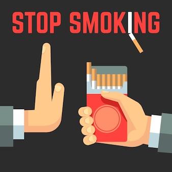 Concepto de vector de no fumar. mano con cigarrillo y mano con gesto de rechazo