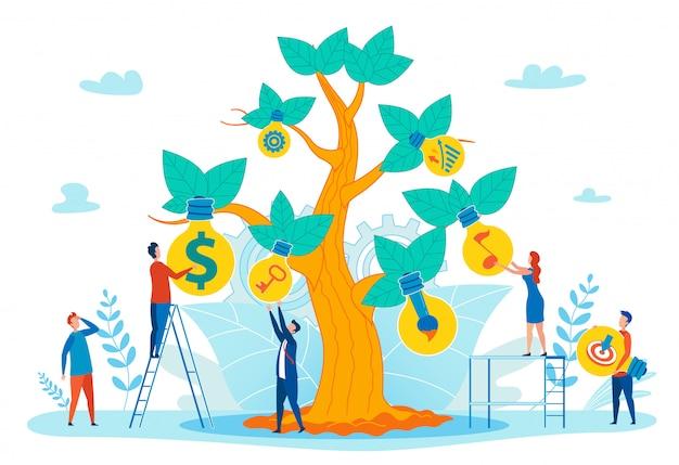 Concepto de vector plano de éxito personal creciente