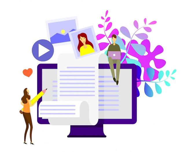 Concepto de vector plano isométrico de blogging creativo.
