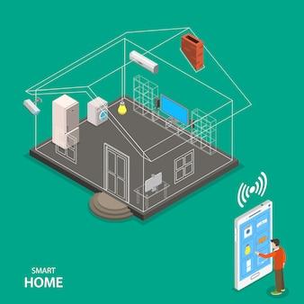 Concepto de vector plano isométrico casa inteligente.