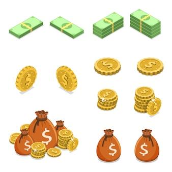 Concepto de vector plano isométrico de dinero como monedas, billetes y bolsas de dinero.