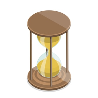 Concepto de vector plano isométrico de un reloj de arena aislado sobre un fondo blanco.